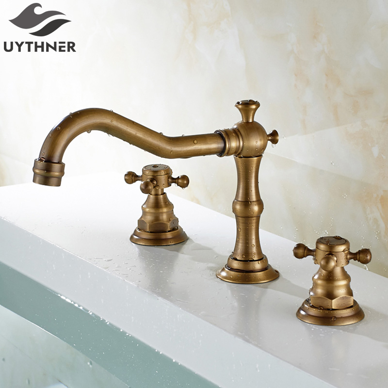 Uythner Antique Brass 3pcs Long & Hook Shape Spout Basin Faucet Double Crossed Handle Mixer Tap цена