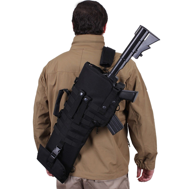 """29"""" Military Rifle Scabbard Molle Backpack Tactical Army Shotgun Holster Assault Long Gun Padded Protection With Shoulder Strap"""