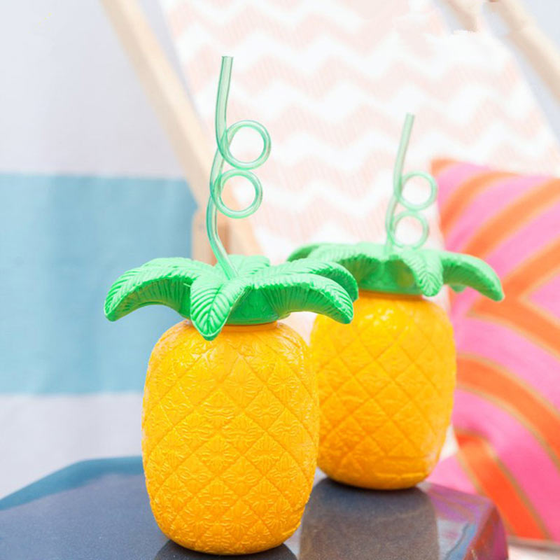 Summer Pineapple Straw Cups Beach Fruit Juice Drink Tropical Party Barware Kids Child Gifts TB Sale