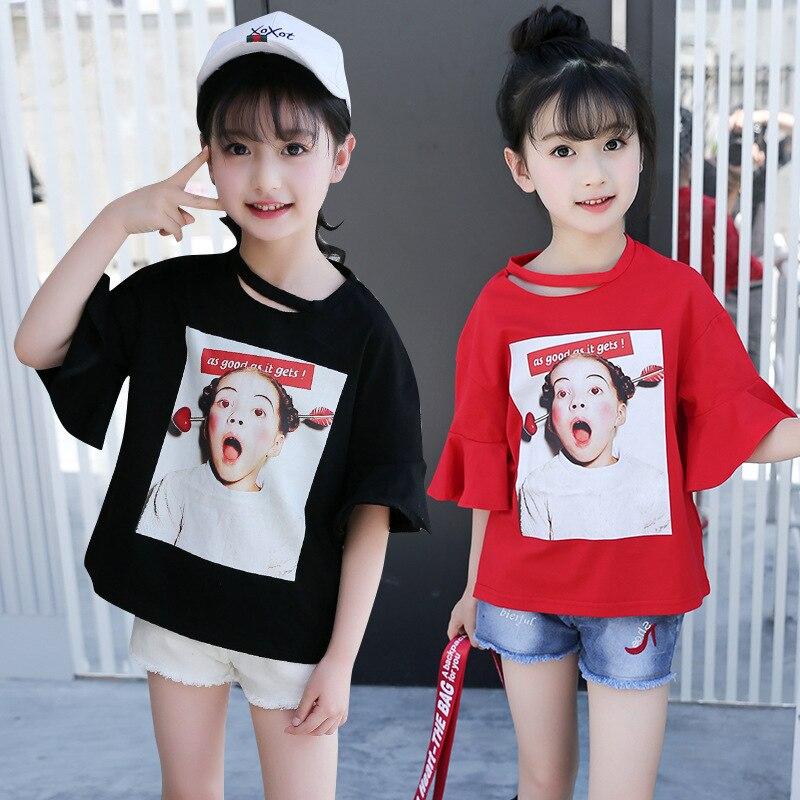 2018 Summer New Large Child Fashion Topy Girls Alphabet Print - Ubrania dziecięce - Zdjęcie 2