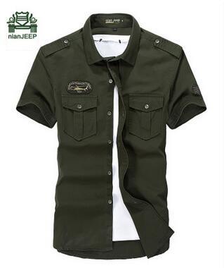 2016 de alta qualidade verão Homens casuais camisa de manga curta, estilo militar camisas de algodão masculinas roupas jeep tamanho 4XL