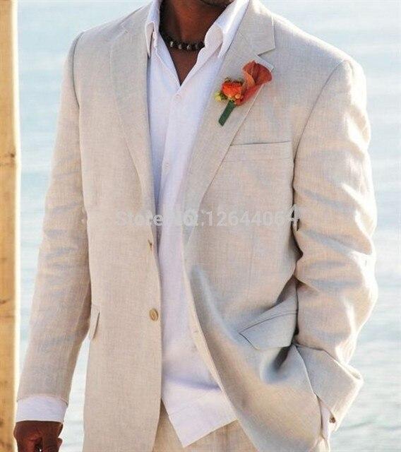 Пользовательские Светло-Бежевый Белье Костюмы Свадебные Смокинги Для Мужчин Белье Костюм На Заказ Жених Костюм Прохладный мужская Белье Смокинг
