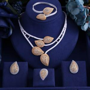 jankelly 2 Tones 4pcs Bridal Zirconia Jewelry Sets For Women Party, god ki Luxury Dubai Nigeria CZ Crystal Wedding Jewelry Sets