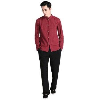 New Arrival Burgundy Chinese Men Kung fu Uniform Cotton Tai Chi Wu Shu Suit Vintage Button Clothing M L XL XXL XXXL 2605