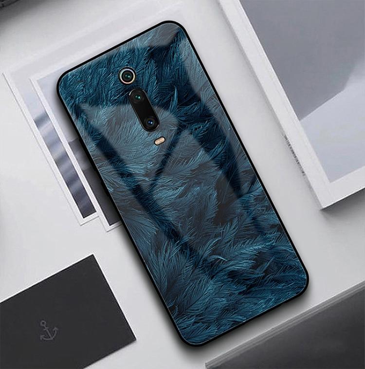 HTB1wbHjXfb2gK0jSZK9q6yEgFXa0 GFAITH For Xiaomi Mi 9T Case Tempered Glass Feather Print Cover With Starry Sky Design For Xiaomi Mi9T Pro Phone Case Mi 9 SE 87