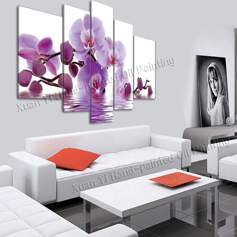 ᐃ5 panel moderno pintado a mano flor lienzo pintura al óleo cuadros ...