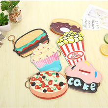 Cake Donuts Hamburg Pizza Coin Purse PU Leather Wallet Card Holder Portable Loose Change Storage Bag Key Chain Pocket Kids Gifts