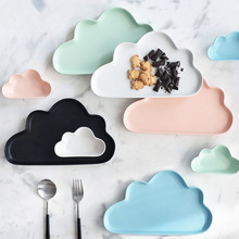 Ceramic Porcelain Cloud Rain Plate Matt Smooth Novel Cute Dish Dinnerware Kid Children Baby