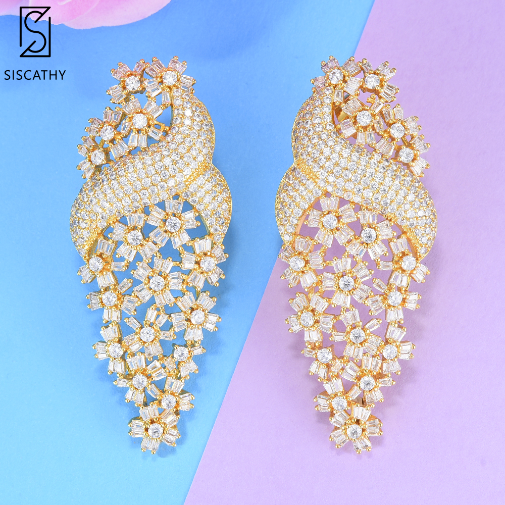 SISCATHY Trendy Women Jewelry Round Flower Shape Hollow Full Cubic Zirconia Inlaid Stud Earrings Women Party Weddings Jewelry