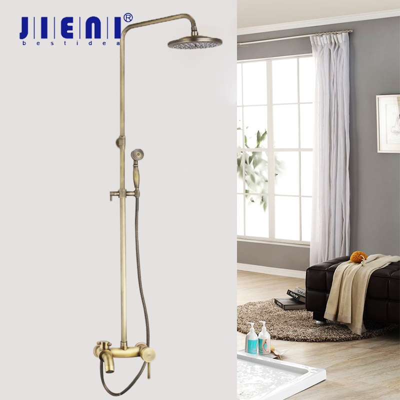 JIENI 8 Inch Antique Brass Bathroom Rainfall Shower Head System Bath & Shower Faucet Mixer Shower Set W/ Hand Spray Tap Set стоимость