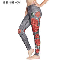 Chaude Automne Femmes Leggings Charme Sauvage Roses Impression Legging Casual Leggins Slim Fit Leggings Femmes Pantalon Jegging Drop Ship