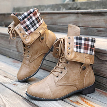 Plus Size 43 Motorcycle Boots Women Fashionable PU Solid Winter For Ladies Lace-Up Cmfortable Mid Calf Female
