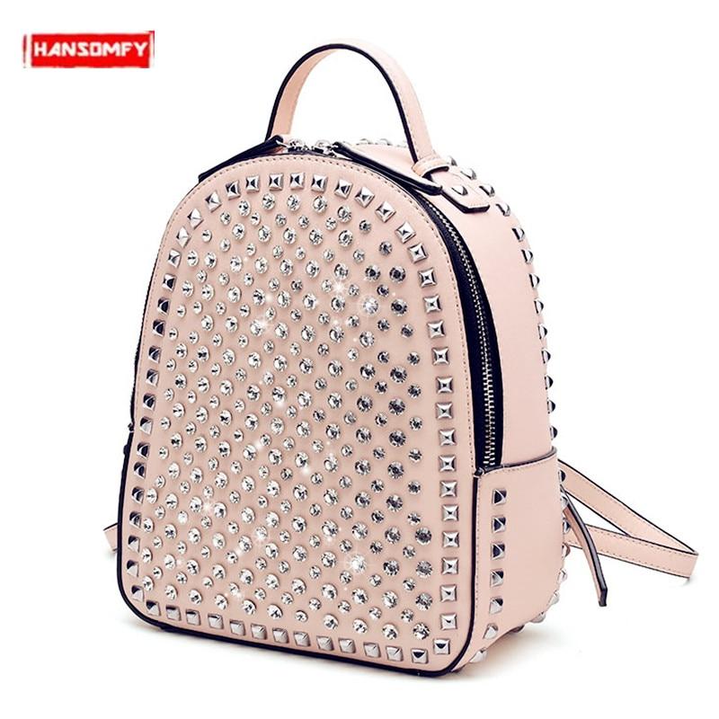 2020 Luxury Fashion Diamonds Women Backpack Small Rivet Shoulder Bag Girl Casual College Wind Backpacks Tide Rhinestone Female