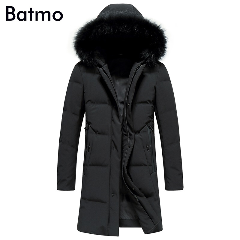 Batmo 2017 new arrival winter high quality 85% white duck down fox fur collar hooded long jacket men,winter mens coat 87068