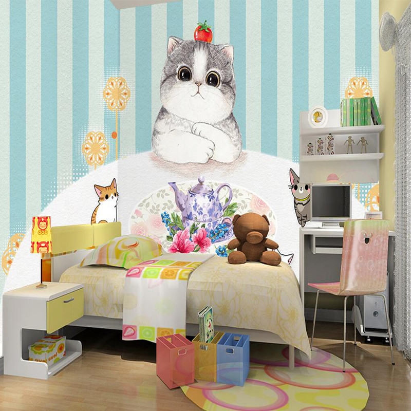 Custom Photo Wallpaper 3D Wall Murals Children Room Cute Cat Cartoon Wallpaper Animals Home Decor Wall Stickers 3D Wall Murals custom 3d photo wallpaper murals hd cartoon mushroom room children s bedroom background wall decoration painting wall paper