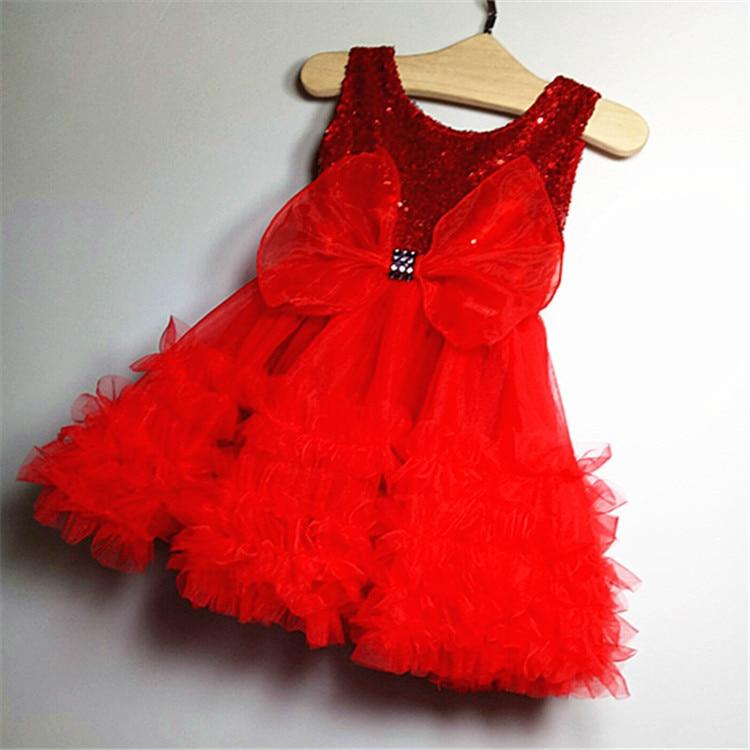 2016 Girls Sequin Dress Fashion Princess Big Bow Children Baby Girl Party Frocks Designskid Clothes