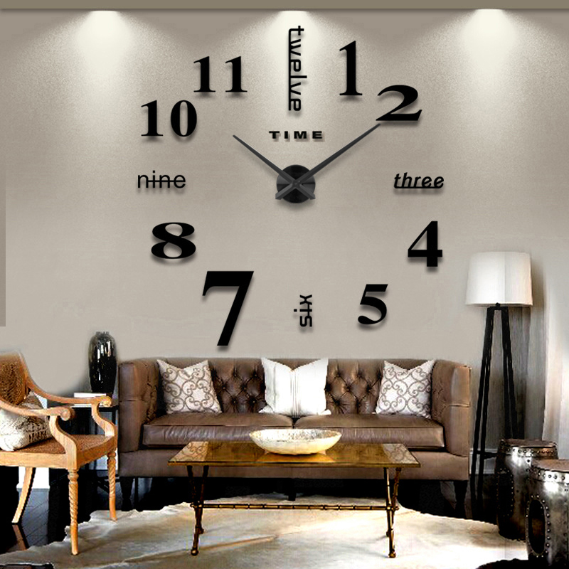 2016 new arrival 3d home decor quartz diy wall clock clocks horloge watch living room metal Acrylic mirror 20 inch free shipping