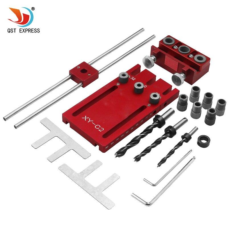 Outil de menuiserie bricolage menuiserie haute précision Kit de gabarits de goujons 3in1 kit de guide de forage localisateur de forage rouge