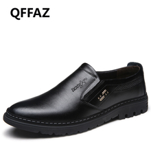 QFFAZ New Men Shoes Genuine Leather Mocassins Men Loafers Slip On Loafers Shoes Men Oxford Dress Shoes Fashion Casual Shoes