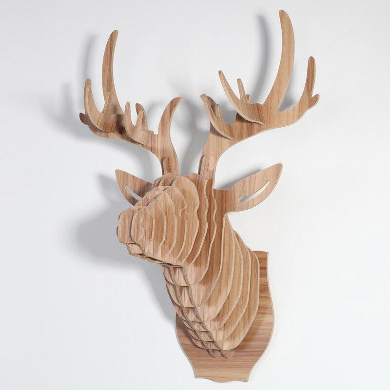 1 set 9 Colore 25 Pollice Testa Degli Animali di Legno di Grandi Dimensioni Impiccagioni In Legno Deer Head Per La Decorazione Della Parete della Casa di Arte IW-WD001