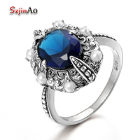 Szjinao Usa Natural Freshwater Pearl Jewelry Boho Vintage Cushion Dark Sappihre Rings for Women 925 Sterling Silver Jewelry