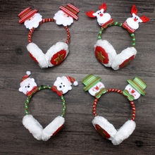 12pcs/lot wholesale Christmas Earmuff decorations for home Xmas gift festival decor Santa Claus Reindeer new year party supplies