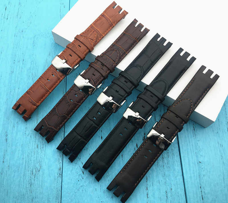 Bamboo Flat Pattern band Genuine Leather Watchband Pin Clasp Bracelet for Swatch strap For YRS403 401 402G 412 413 418 Watch