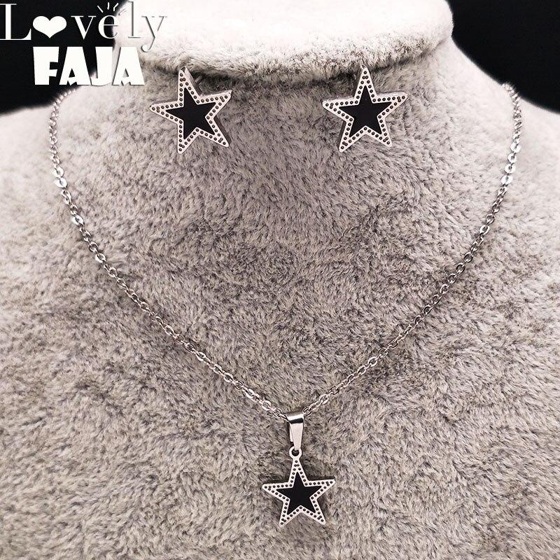 Star Stainless Steel Jewelry Set Women Black Enamel Jewerly Sets Earrings Necklace Jewellery acero inoxidable joyeria 178564