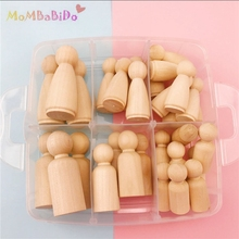 30pcs Hard Wood Blocks People Different Size Natural Unfinished Ramp Preparation Paint or Stained Wooden Family Peg Dolls