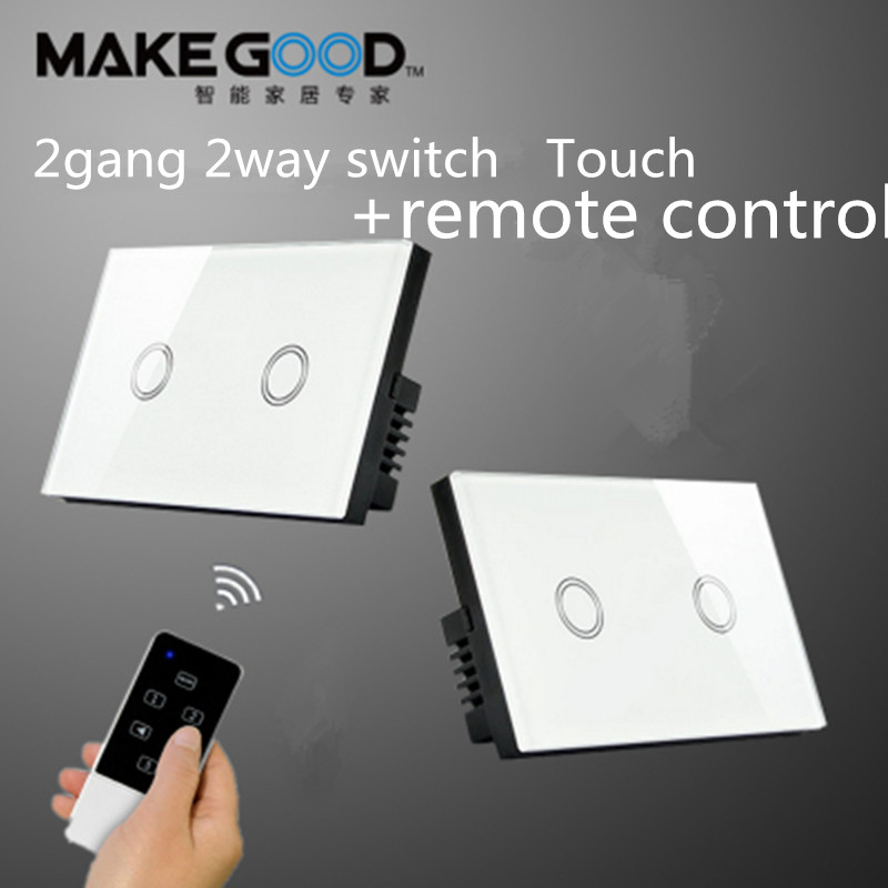 Makegood 2 Gang 2 way touch wall switch, RF433 remote control light switch for US standard crystal tempered glass panel switch wall light free shipping remote control touch switch us standard remote switch gold crystal glass panel led 50hz 60hz