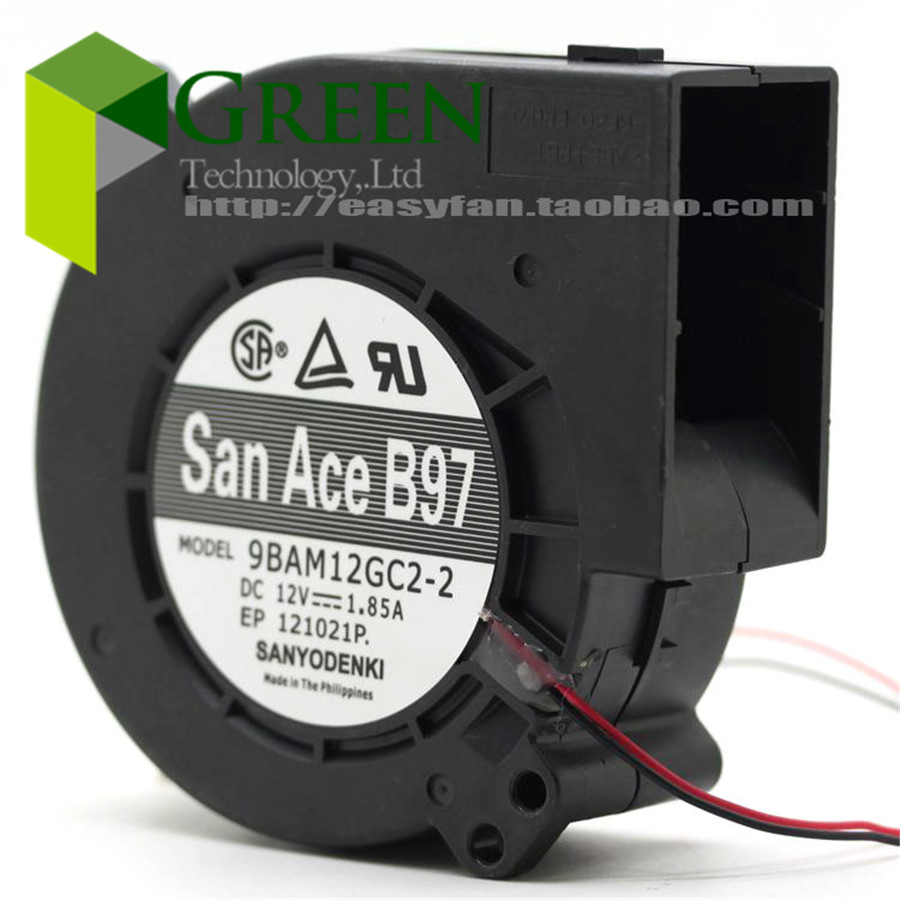 Original SANYO 9BAM12GC2-2 97 x97x33mm industrial <font><b>blower</b></font> or Burn oven blowing turbo <font><b>blower</b></font> <font><b>fan</b></font> <font><b>12V</b></font> 1.85A <font><b>9733</b></font> with 2pin image