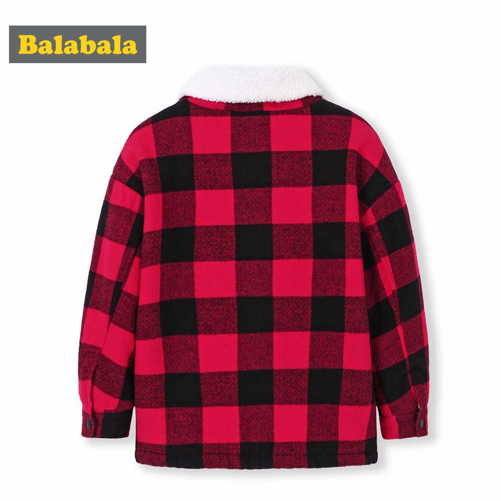 Balabala/Детская рубашка в клетку из искусственного меха для мальчиков; куртка с воротником для маленьких мальчиков; Теплые Топы с длинными рукавами; зимняя одежда