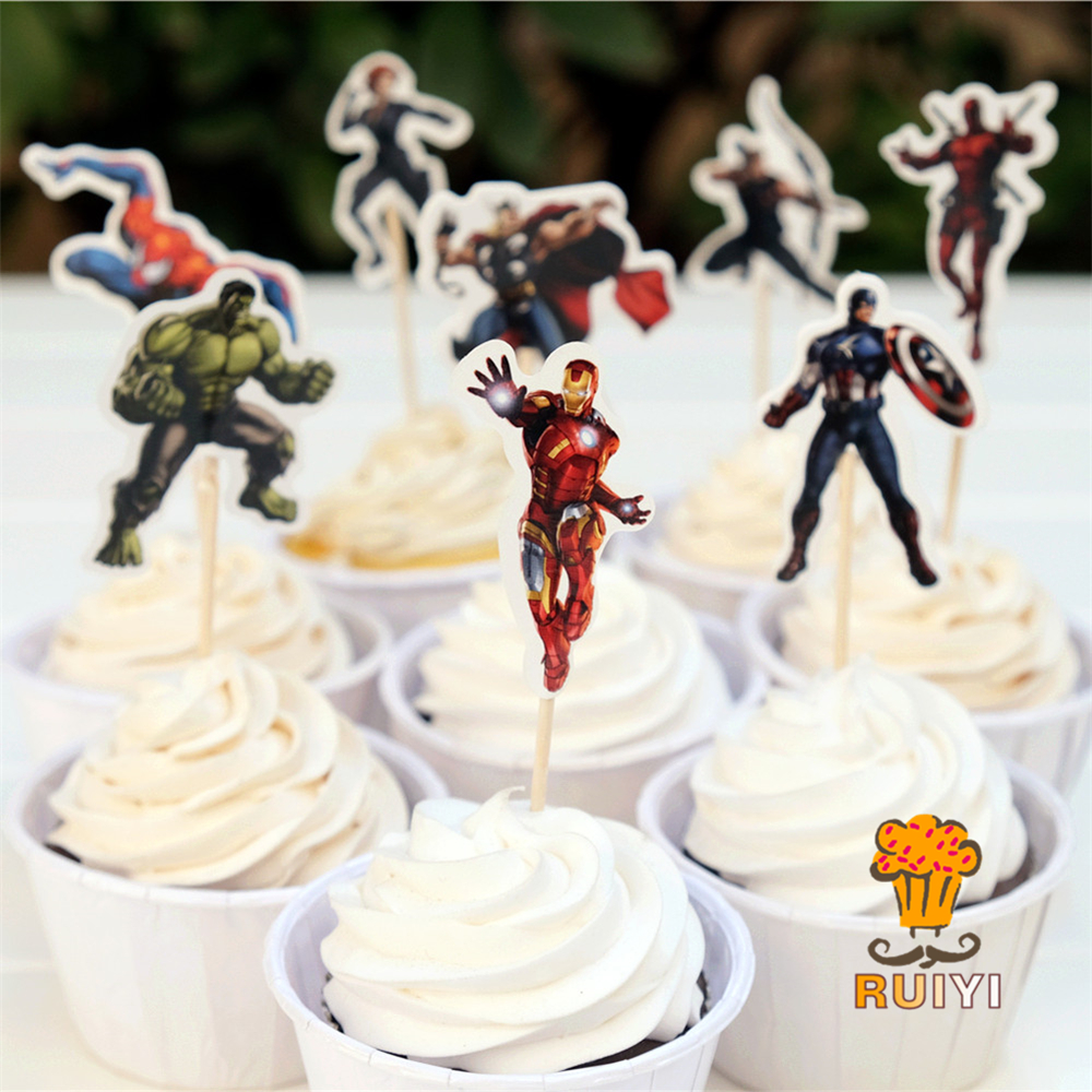 96pcs Superhero Captain American Iron Man The Avengers Candy Bar Cupcake Toppers Pick Baby Shower Kids Birthday Party Supplies
