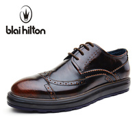Blaibilton Vintage Designer Patchwork Platform 100 Genuine Leather Business Dress Men Shoes Brogue Classic Mens Shoes