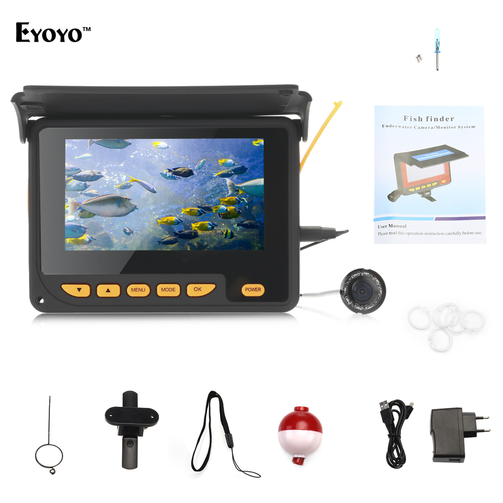EYOYO HD 1000TVL Fish Finder Underwater Ice Fishing Camera Video Fish Finder 4.3 inch LCD 8pcs IR LED 150 Degree Angle eyoyo 20m hd 1000tvl underwater ice fishing camera video fish finder 4 3 lcd 8pcs ir led 150 degrees angle