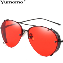 Yumomo Round Sunglasses Women 2019 New Fashion Red Retro Luxury Brand Shades Designer Metal Mirror Original  Female Oculos UV400