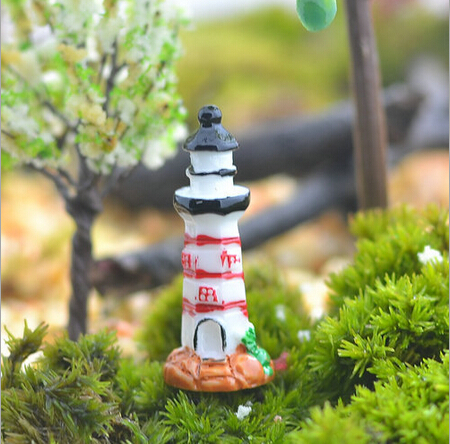 Free shipping fairy garden 3 d resin micro landscape doll house decoration Mini resin beacon red edge 20pcs /lot