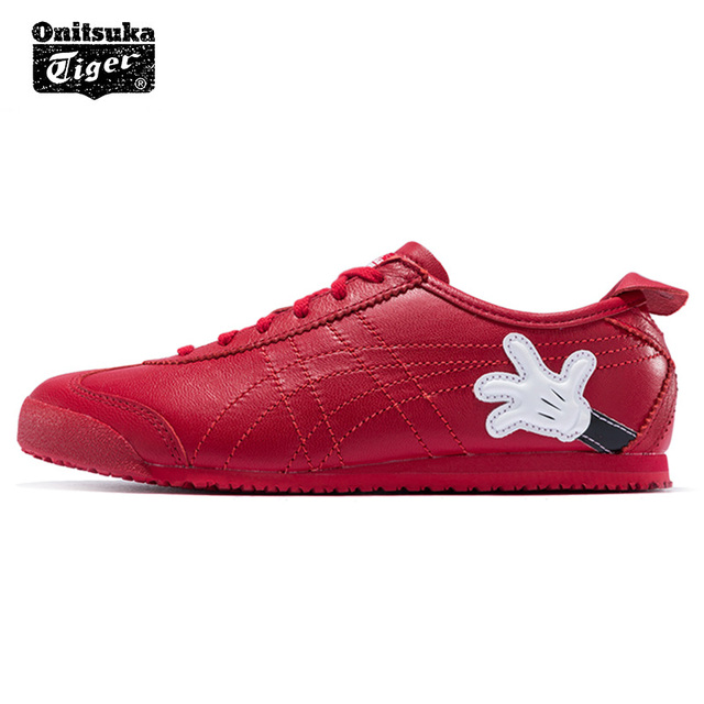 Original ONITSUKA TIGER MEXICO 66 men women s shoes Mickey cooperation  breathable red low Sheep leather sneaker badminton shoes 35d5ae8001
