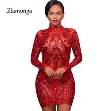 Ziamonga Sexy Sheer Mesh Red Long Sleeve Sequin Dress Women Geometric  Sparkly Slim Party Bodycon Mini Dress Femininos Vestidos 158efca0cecb