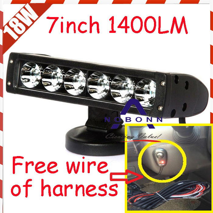 Free DHL/UPS/Fedex ship! 7 18W 1400LM 10~30V,6500K,LED working bar;led offroad bar,Option wire harness,4x4,LED bar light free dhl ups fedex ship 41 150w 13000lm 10 30v 6500k led working bar led offroad bar option wire harness suv led bar light