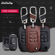 Leather Car Key Cover Case Protector For Honda FIT XRV VEZEL CITY JAZZ CIVIC HRV Civic Crider CRV 2&3 Button Accessories