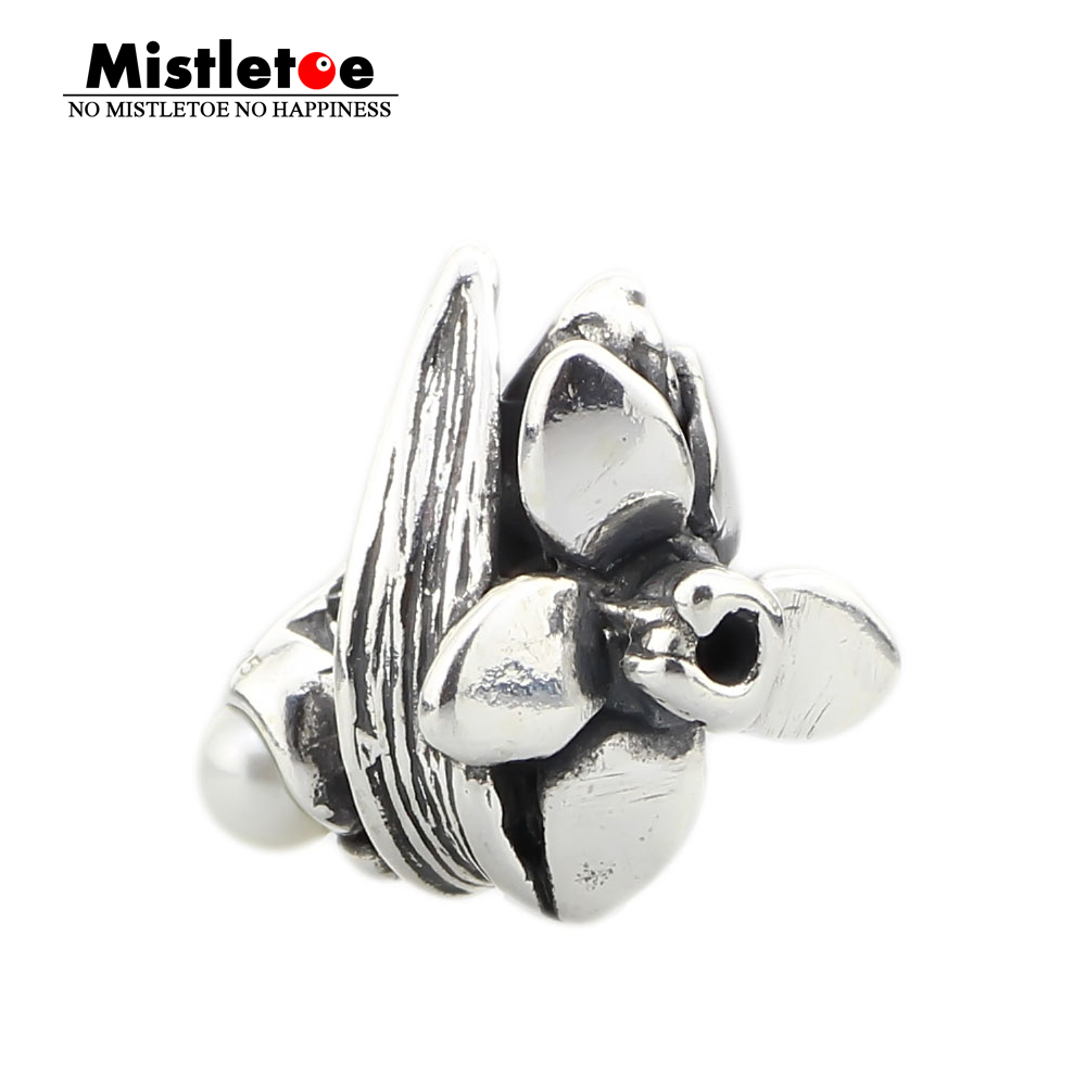 Mistletoe Jewelry Genuine 925 Sterling Silver Narcissus of December With White Pearl Charm Bead Only Fit Troll 3.0mm Bracelet(China)