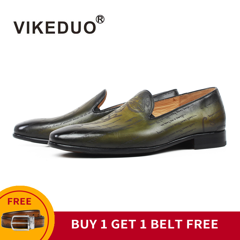[BUY 1 GET 1 FREE] VIKEDUO Luxury Loafers Shoes Men Genuine Leather Casual Wedding Office Mans Footwear Patina Zapatos De Hombre