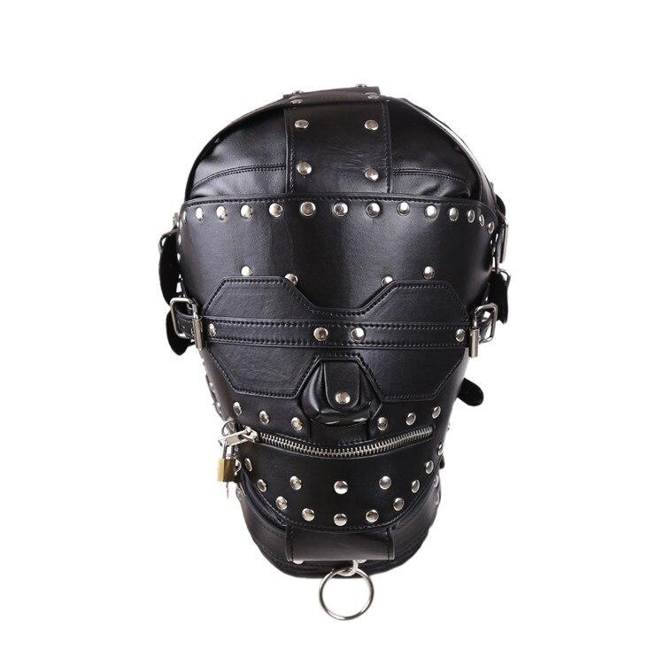 Adulte sexe tête femme masque en cuir harnais bandeau capot masque jouets sexuels pour Couples jeux de sexe restrictions Bondage Gear