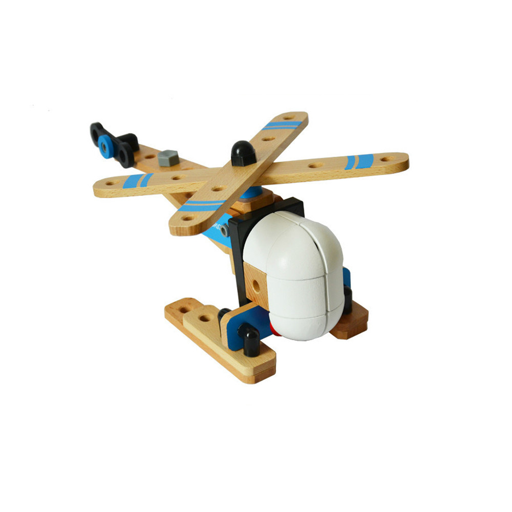 Kid Fun Toy Gift Children Boy Educational Wooden Toys DIY Manual Assembly 3D Puzzle Model Children's Educational Aircraft diy wooden timer clock mechanical transmission model assembly puzzle toy 107pcs