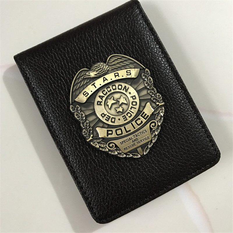 Cosplay Stars RACCOON Police Dep Metal Badge Leather Case Holder ID Cards Driving Wallets Holder Case Cosplay Props