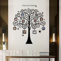 3D Large Size Black Photo Frame Tree Stickers Romantic Entrance Bedroom Sofa TV Home Decorative Wall