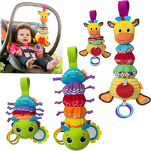 Kawaii Животных Детские Младенческой Плюшевые Куклы Toys Кровать и Коляска Висячие Белл Кроватки Rattle Toys Гуттаперчей Стрейч детские Игрушки