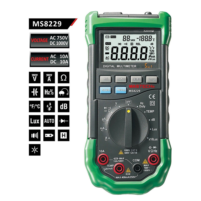 Mastech MS8229 Digital Auto range Multimeter DMM Meter 5 in 1 Multitester Light Sound Level Temperature Humidity Tester mastech ms8260f 4000 counts auto range megohmmeter dmm frequency capacitor w ncv
