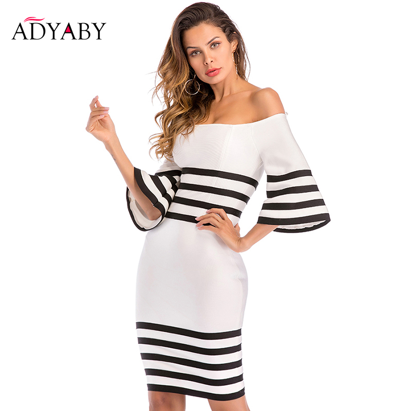 Knee Length Dress Women 2019 Summer Off Shoulder Bodycon Dress Bandage Black And White Striped Celebrity